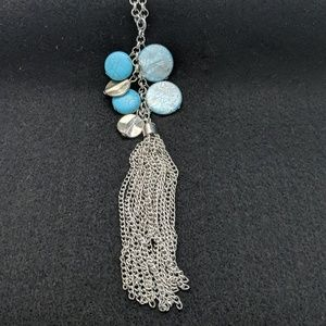 Long turquoise and silver Fringe necklace